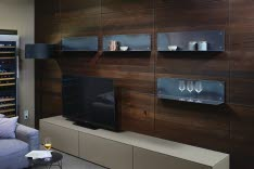 "STORAGE SYSTEM AND TV UNIT CONSISTING OF PULL-OUT UNITS WITH FRONT, TOP SHELVES/PANELS IN A ""TONKA"" COLOR, BACK PANEL IN ""DARK OAK OILED"""