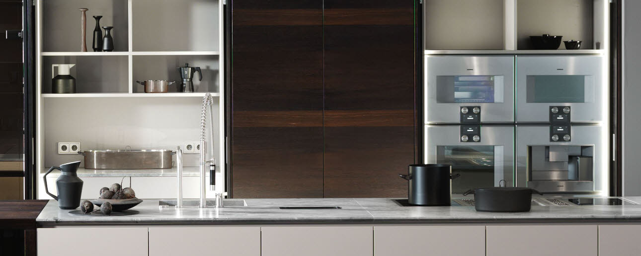 Tall cupboard with flip up doors